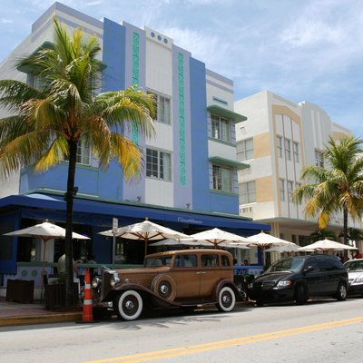 A photograph taken of Ocean Drive in Miami Beach, Florida.