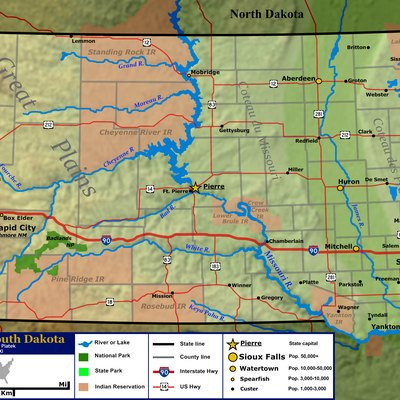General map of the US state of South Dakota. Shown are the state's topography, major cities and roads, boundaries, and bodies of water.