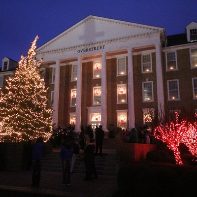 A photo of Southern Arkansas University's Overstreet Hall during the annual Celebration of Lights.