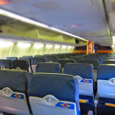 On board Southwest Airlines aircraft empty interior