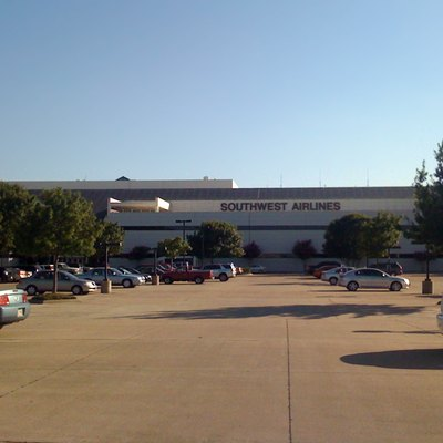 Headquarters building of Southwest Airlines, located at 2702 Love Field Dr, Dallas, TX , taken from the parking lot on the east side of the building adjacent to Love Field at approximately 7pm.