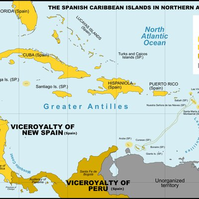 Spanish Caribbean Islands in the American Viceroyalties 1600.