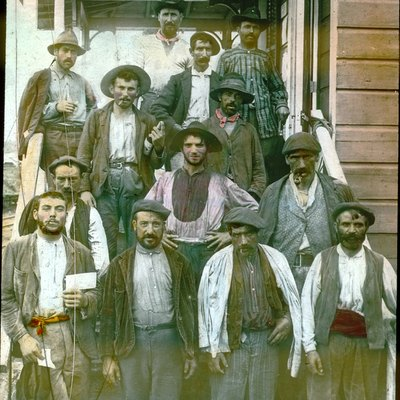 An unusual hand-tinted lantern slide of Spanish laborers on the Panama Canal, also noted as the Isthmian Canal. Early 1900s. From the William C. Gorgas lantern slide set of the Registry in Noteworthy Research in Pathology.
