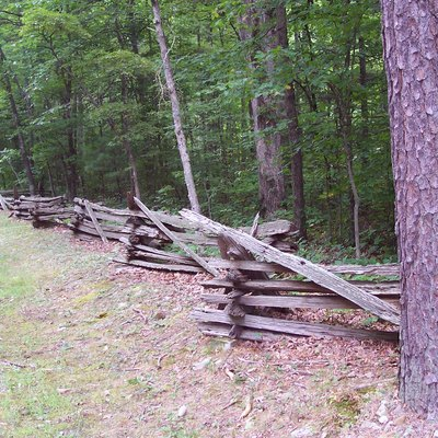 A split rail fence found at the entrance to Sherando Lake, located in the U.S. national forest area known as the George Washington Forest Area.