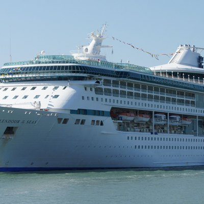 Splendour of the Seas is Some of the massive cruise ships in Venice Harbour. Small boats for size....