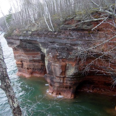 Squaw Bay Sea Caves, part of the Apostle Islands National Lakeshore, on the mainland near Cornucopia, Wisconsin)