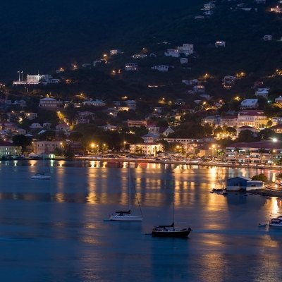 Night view of the Charlotte Amalie Harbor, Saint Thomas, United States Virgin Islands.