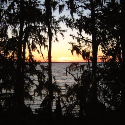 Sunset on the St. Johns River near former ferry crossings Tocoi and Picolata, unincorporated areas in St. Johns County