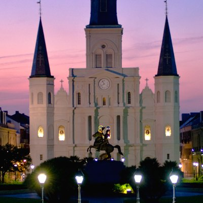 Skinny pic of St. Louis Cathedral, seen from Jackson Square, New Orleans