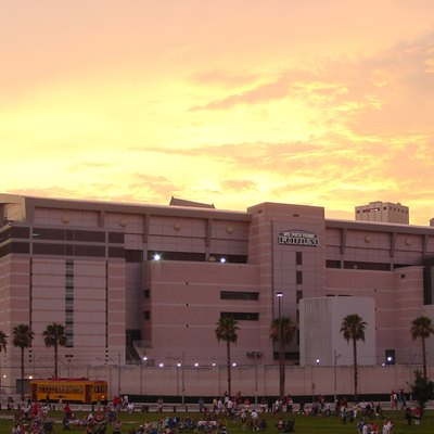 This photograph is of the Tampa Bay Times Forum (formerly known as the St. Pete Times Forum) in Tampa, FL. It was taken on July 4, 2004 at sunset while I was waiting for a fireworks display to start.