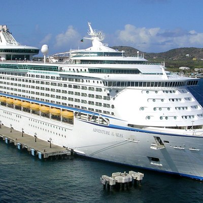 Adventure of the Seas is a Royal Caribbean cruise ship, which was built in Finland. It entered service in 2001 and carries 3,100 passengers. I photographed it in port at Basseterre, St. Kitts.