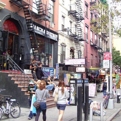 St. Marks Place between Third and Second Avenues is one of the main commercial streets of the East Village neighborhood in Manhattan, New York City.