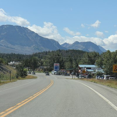 Looking south at the sign for St. Mary, Montana on U.S. Route 89.
