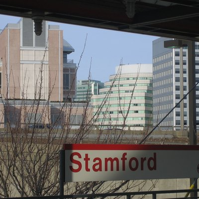 I took this photo in 2005 of part of Stamford's skyline from the city's main train station.