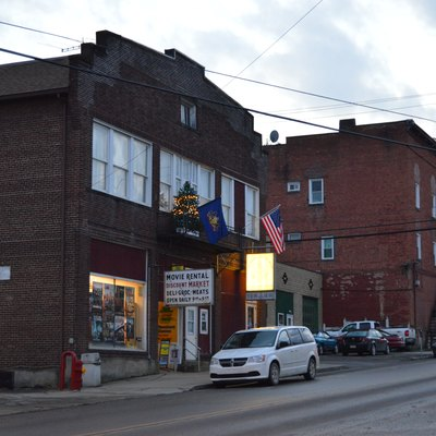 Buildings on the southern side of E. State Street (Pennsylvania Route 208) east of the Main Street intersection in Knox, Pennsylvania, United States.