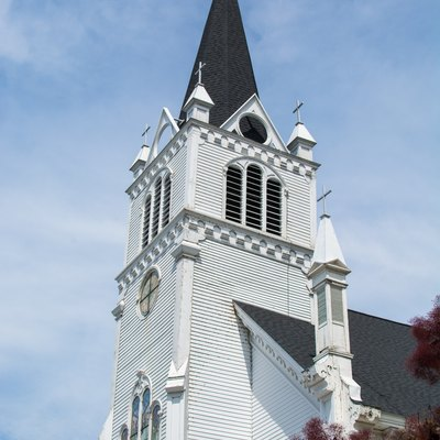 Ste. Anne's Catholic Church on Mackinac Island's south shore, just east of the main town.