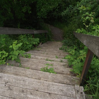These are the wooden steps leading from the Battle of the Windmill historic site in New Wexford, Ontario, down to the St. Lawrence River. The historic site is located a couple meters from the shore on top of a slight cliff; there is a historical marker containing information about the site and the old windmill itself to view. Facing the river and the windmill, the stairs are slightly to the left hand side of the structure. The stairs lead to a rocky beach, providing an alternate view of the St. Lawrence from the top. This picture was taken with a digital camera on a slightly overcast day in June of 2013. 44°43'16.0