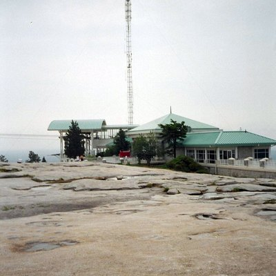 Pavilion and transmitting tower at the top of Stone Mountain