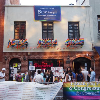 Stonewall Inn, a gay bar on Christopher Street in Manhattan's Greenwich Village. A 1969 police raid here led to the Stonewall riots, one of the most important events in the history of LGBT rights (and the history of the United States). This picture was taken on pride weekend in 2016, the day after President Obama announced the Stonewall National Monument, and less than two weeks after the Pulse nightclub shooting in Orlando.