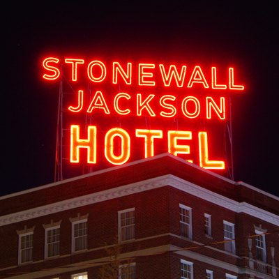 The neon sign on the roof of the Stonewall Jackson Hotel in Staunton, Virginia. The sign was erected about 1950, and was restored in 2005.
