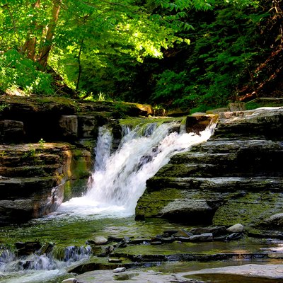 This is one of the many small falls found in Stony Brook State Park, New York, USA.