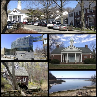 Montage of photos representing several facets of Stony Brook, New York. Clockwise from top are the Stony Brook Village Center, the art building at the Long Island Museums, Stony Brook Harbor, the c.1751 Stony Brook Mill, and the Simons Center for Geometry and Physics at Stony Brook University