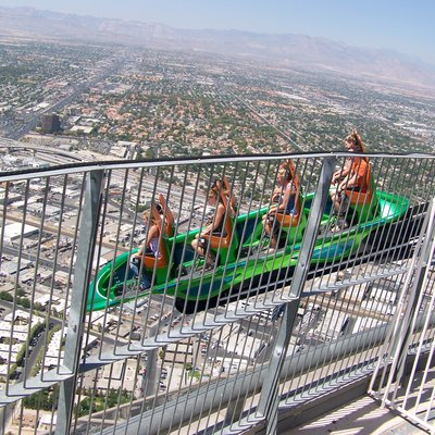 The X Scream coaster located at the Stratosphere in Las Vegas hangs riders off the edge of the tower.