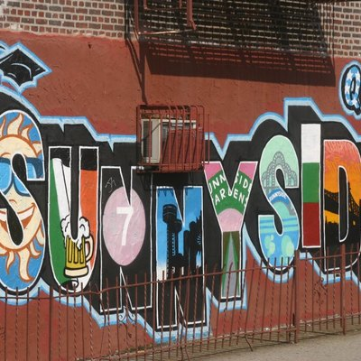 Wall mural on a building in Sunnyside, New York