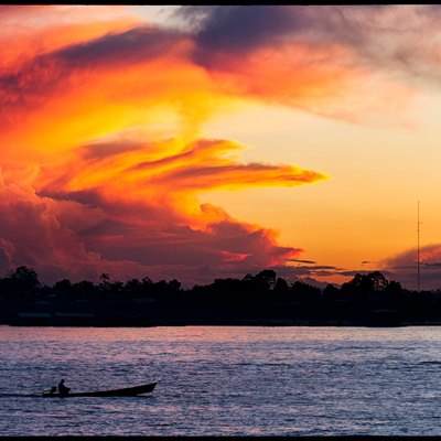 Beautiful sunset over the Amazon river near Leticia, Colombia