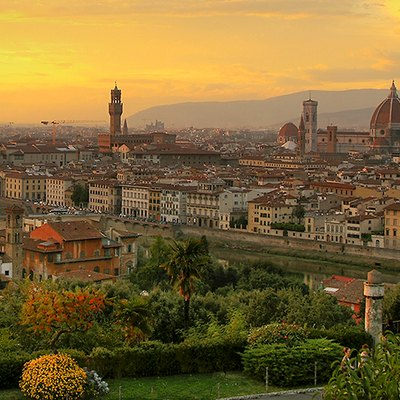 A view of Florence, Italy at sunset.
