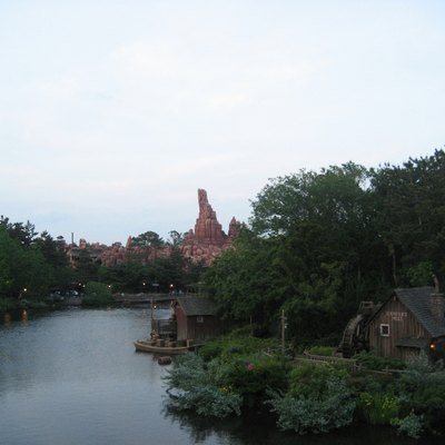 Scenery with Thunder Mountain at Tokyo Disneyland