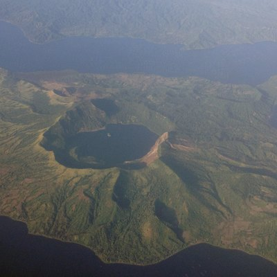 Aerial photo of Taal Volcano, taken on a Cebu Pacific flight from Manila to Dumaguete City on December 22, 2012.