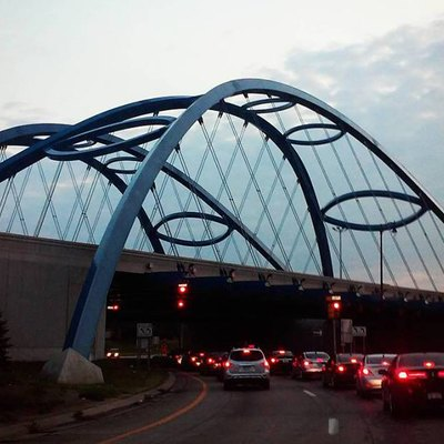 The blue arches of the Telegraph/94 bridge in Taylor, Michigan.