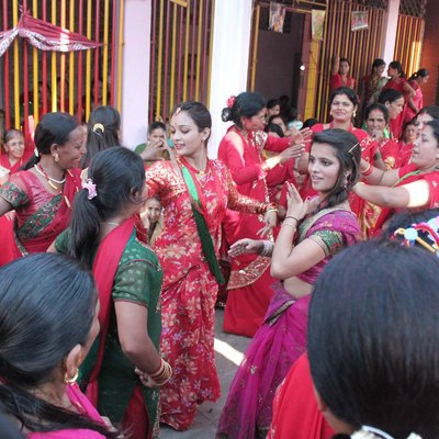 Nepalese women dancing for Teej
