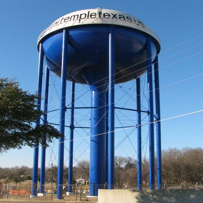 A water tower in Temple, Texas