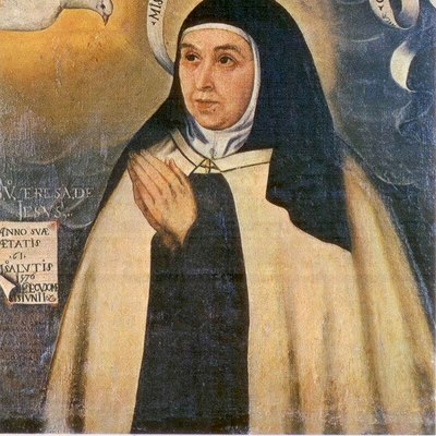 This is the one portrait of Teresa that is probably the most true to her appearance. It is a copy of an original painting of her in 1576 at the age of 61.