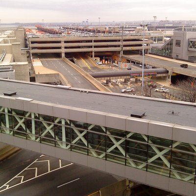 Terminal B, at Boston's Logan International Airport. NOTE: Terminal stretches along both sides of the parking facility in the middle.