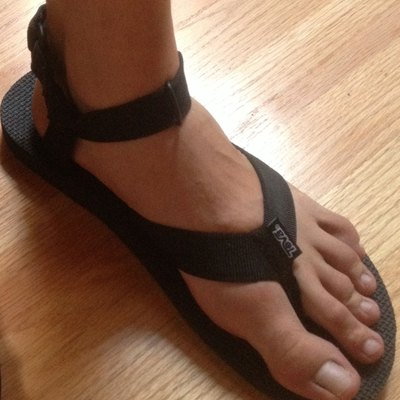An example of the original pair of Teva sandals, which featured a thong between the toes.