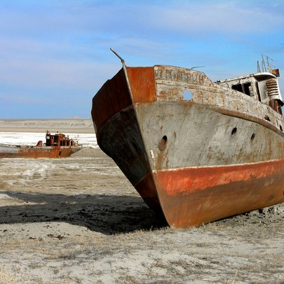 The Aral sea is drying up. Bay of Zhalanash, Ship Cemetery, Aralsk, Kazakhstan