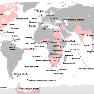 Territories that were at one time part of the British Empire. Names of current British Overseas Territories are underlined in red.