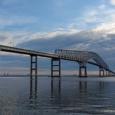 An image of the Francis Scott Key Bridge in Baltimore. Taken in Fort Armistead Park.