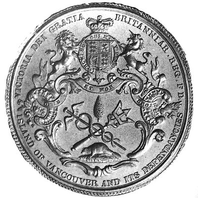 The Great Seal of the Island of Vancouver and its Dependencies was designed by Benjamin Wyon, Chief Engraver of Her Majesty's Seals, c1849. The symbolic badge he designed are the basis for the flag of Vancouver Island, which is still unofficially flown today.[15]