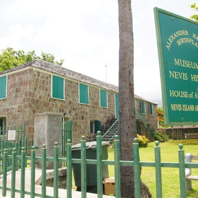 The Museum of Nevis History, Charlestown, Nevis, housed in a restored Caribbean Georgian building, built on the foundation of the structure where Alexander Hamilton was born in 1757 (or 1755).