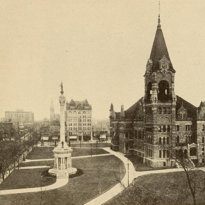 City Hall and Soldiers Monument, ca. 1919. Caption: Probably no other city of its class is richer in the world than Scranton. Five billion tons of Anthracite in the hard coal region have been used or wasted, but fifteen billion tons have not yet been touched within a radius of two or three hours' ride of Scranton. Its property is founded upon the civic pride of its people no less than upon its mines.