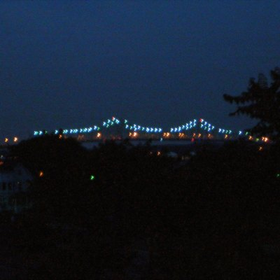 The Outerbridge Crossing, at night. The bridge leads Route 440 from Perth Amboy across the Arthur Kill into Staten Island, NY