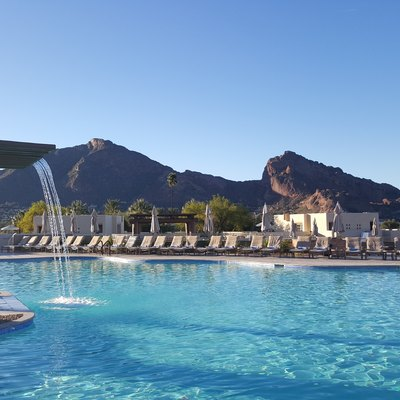 The Pool at the JW Marriott Camelback Inn, with Camelback Mountain in the background