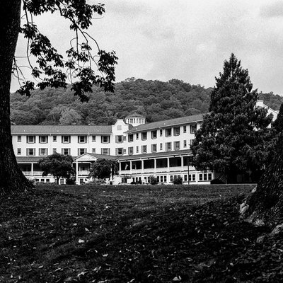 The Shawnee Inn, as seen from the banks of the Delaware River.