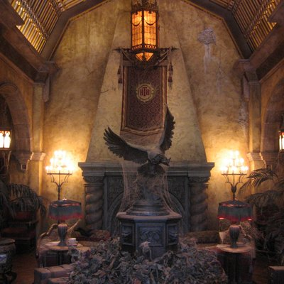 A photograph of the hotel lobby in The Twilight Zone Tower of Terror at Disney's Hollywood Studios, Orlando