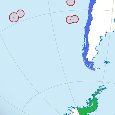 Map of the three areas dividing the Chilean territory: