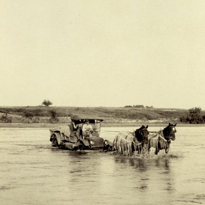 Crossing the Red River near Granite, Oklahoma, 1921.